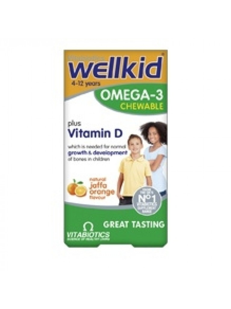 Vitabiotics Wellkid Omega 3 for Kids Chewable with Orange Flavor 4-12 Years 60tabs