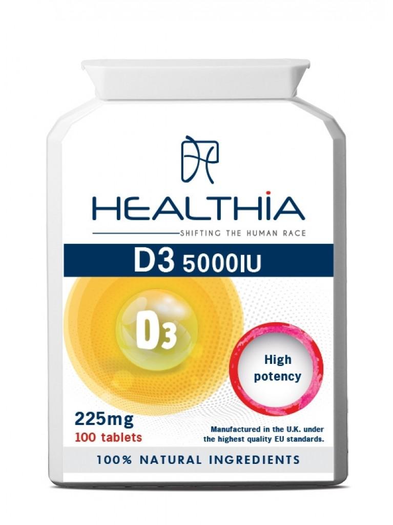 HEALTHIA D3 5000 IU 225mg 100tabs