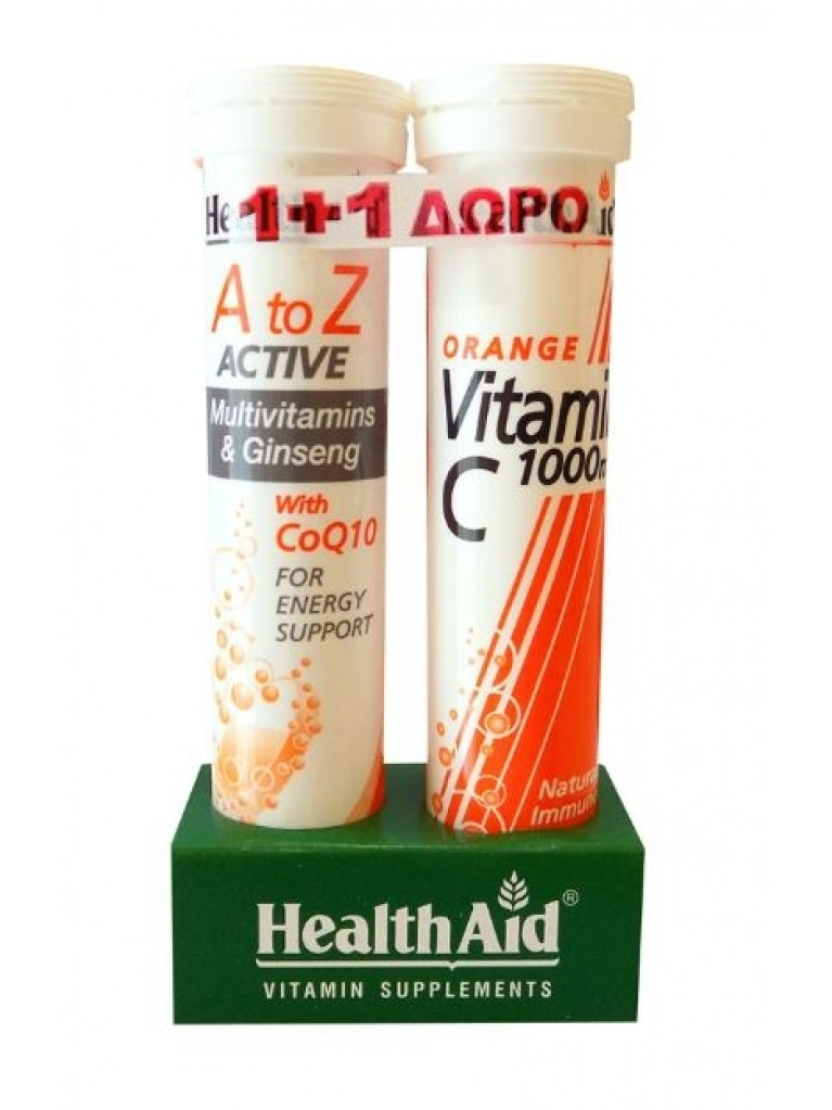 HEALTH AID A to Z Αctive Multivitamis + Q10 20 Ταμπλέτες & ΔΩΡΟ Vitamin C 1000mg 20 ταμπλέτες